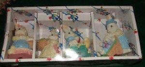 4 Easter Rabbit Figurines