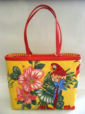 ISABELLA FIORE Tropical Parrot Tote Bag~NEW!