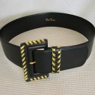 PALOMA PICASSO Gold/Black Leather Belt~L NEW!