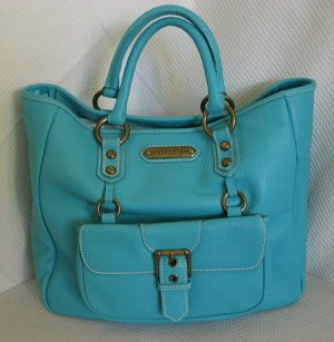 ISABELLA FIORE Huge Turquoise Leather Carryall Tote Bag~NEW!