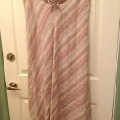 LANE BRYANT 100% Linen Striped Long Bias Skirt 14/16 NWOT