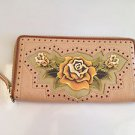 RARE Isabella Fiore Tan Desert Rose Zip Around Leather Wallet NEW!