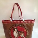 RARE Isabella Fiore CAVALIER KING CHARLES SPANIEL Distressed Leather Bag NEW!