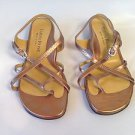 Taryn Rose Bronze Croc Leather Low Heel Strappy Sandals 7 M, 37