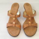 Cole Haan Tan Leather Sandal Heels 7C Wide ~ New