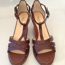 Taryn Rose Brown Croc Leather Wedge Heels Sandal e 7.5 M, 37.5 NEW!