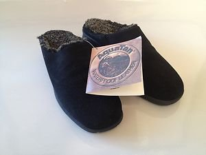 Maxine of Canada Black Italian Sheepskin and Suede Winter Mule Clog Shoes NEW!