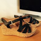 Born Selma Black Platform Sandals Shoes 7 38 NIB