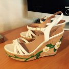 Red Valentino White Daisy Leather Cork Wedges Sandal Heels 7 37 NEW!