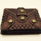 Isabella Fiore Small Brown Leather Wallet With Braids And Studs New!