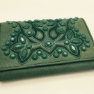 Vintage Isabella Fiore Green RaiseD Design Glazed Leather Wallet