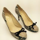Kate Spade Kendall Snake Print Chocolate Suede Bow Pump Heels 7 M NEW!