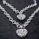 FREE P&P!925 SILVER HEART BRACELET & NECKLACE #S50