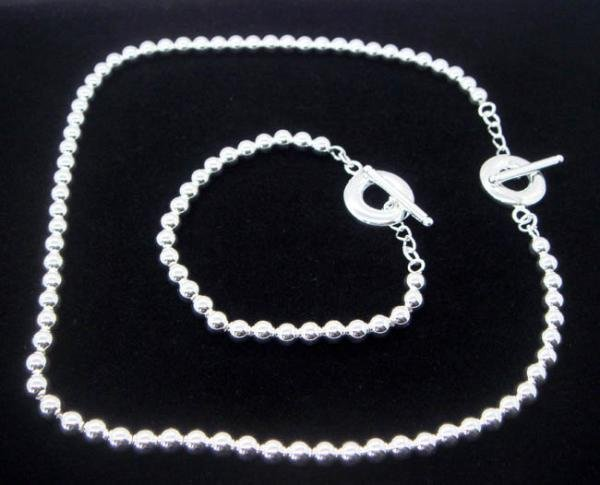FREE P&P!925 SILVER 6MM BEAD BRACELET & NECKLACE #S46