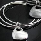 FREE P&P! 925 STERLING SILVER 3 CIRCLE HEART BANGLE #09
