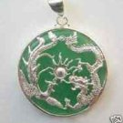 Pure Green jade silver dragon phoenix pendant necklace