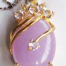 JL 18K GP Pink Jade Pendant Necklace