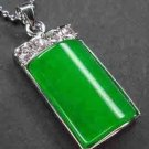 Fine Jewelry Green Jade Rectangle Pendant NecklaceFine