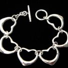 FREE P&P! 925 STERLING SILVER 6 HEART BRACELET #03