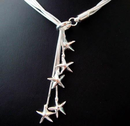 FREE P&P! 925 SILVER 5 STARFISH NECKLACE #64