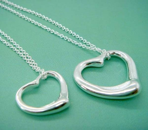 FREE P&P! 925 STERLING SILVER LOVER HEART NECKLACE #92