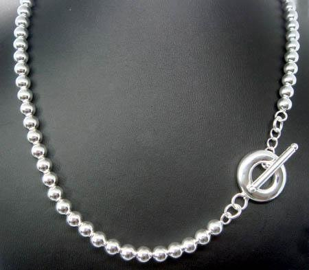 FREE P&P! 925 STERLING SILVER 6mm BEAD NECKLACE #95
