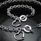 FREE P&P!925 SILVER HEART BRACELET & NECKLACE #S119