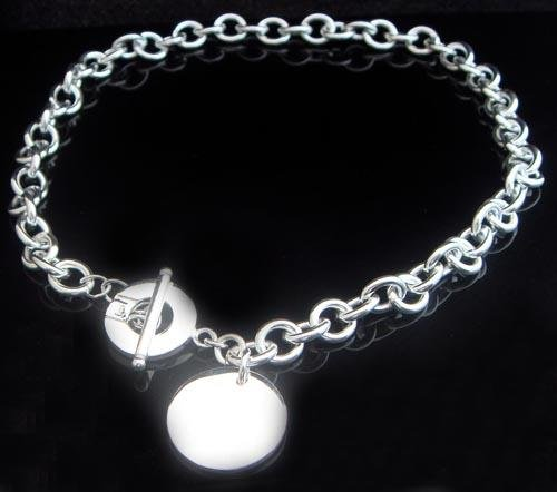 925 STERLING SILVER ROUND TAG NECKLACE #152 FREE P&P