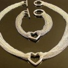 FREE P&P! 925 SILVER HEART BRACELET & NECKLACE #S33