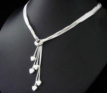 FREE P&P! 925 STERLING SILVER 5 HEART NECKLACE #27