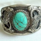 Tibet Silver Dragon Turquoise Cuff Bracelet