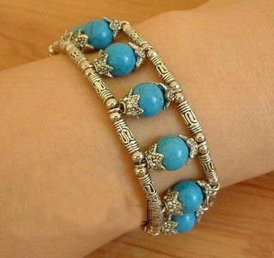 Genuine Tibet silver Turquoise Bracelet