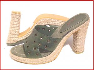 White Mountain Olive Green Mules Sandals Sz 10
