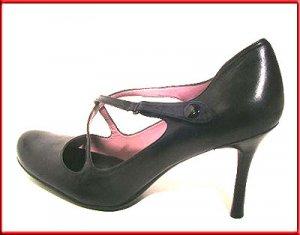 NINE WEST Black Leather PUMPS Shoes Sz 10