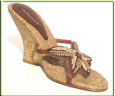 Dollhouse TAN Brown Cork Wedge Slide SANDALS Sz 10