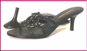 JONATHAN MARTIN Strappy Mules Slides Black  Pumps Sz 8