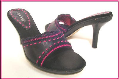 NINE WEST Shoes BLACK SLIDES Mules Pink Trim Shoes Sz 6.5