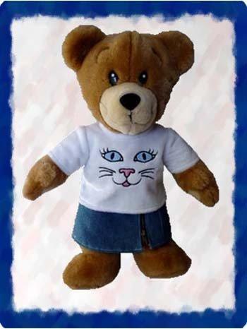 Cat Shirt with Denim Skirt