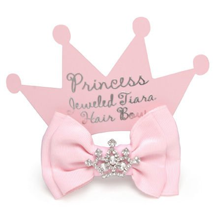 PINK HAIRBOW W/JEWEL CROWN