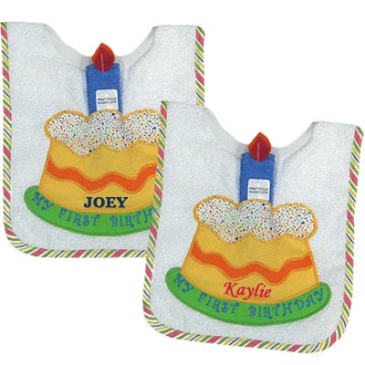 "Personalized ""My 1st Birthday"" Bib & Washcloth Set"