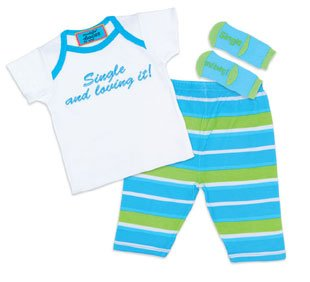 "Single & Loving It"" 3 Pc Set Newborn 0-6M"