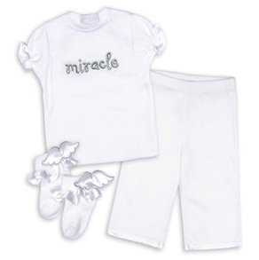 Mud Pie Angel Bebe Miracle Clothing Set 0-6M