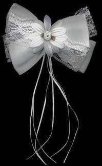 Satin & Lace Large Daisy Hair Bow