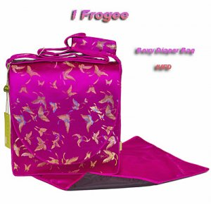IFD35 - Hot Pink Butterfly - I Frogee Asian Brocade Diaper Bags