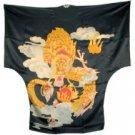 BT01 - Black Silk Big-T Gown(Dragon Caftan) For Women
