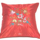 Pair of Satin Cushion Covers - Embroidered Floral Design (Red)