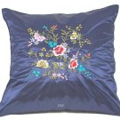 Pair of Satin Cushion Covers - Embroidered Floral Design (Dark Blue)