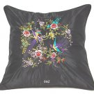 Pair of Satin Cushion Covers - Embroidered Floral Design (Black)