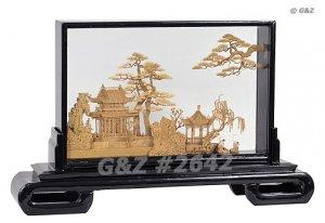 2642 - Oriental Garden View w/Cranes - Cork Art