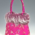 FHB - Hot Pink Satin Handbag w/Fur (Butterfly Brocade)